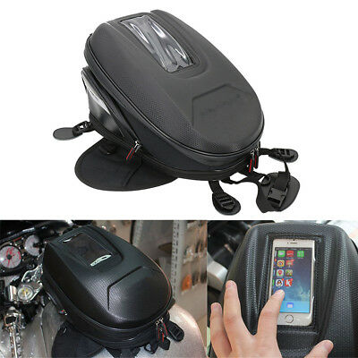 Motorcycle 9-12L Extended Tank Bag Carbon Fiber Pattern Waterproof Oxford Black