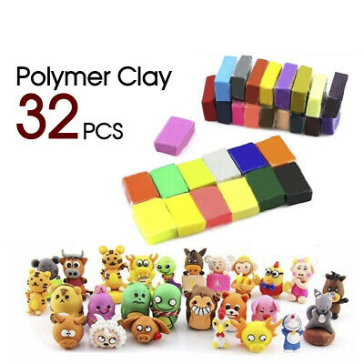 32 Craft Polymer Clay Fimo Block Modelling Moulding Models Art Sculpey DIY Toys
