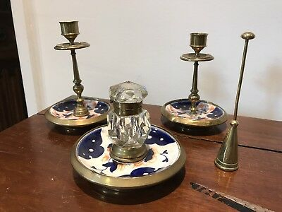 Quality Edwardian Desk Set. Inkwell & Candlesticks. Open To Offers?