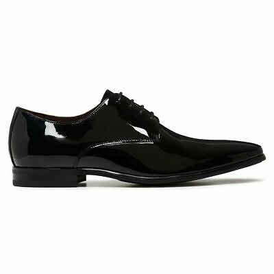 Mens Julius Marlow Jet Work Leather Black Patent Men's Slip On Shoes