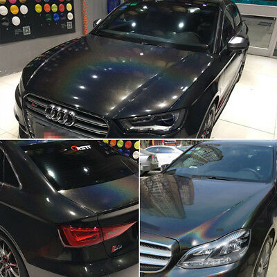 Holographic Rainbow Black Chrome Car Vinyl Wrap Bubble Free Release