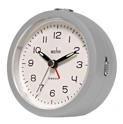 Acctim Orla Grey Non Ticking Alarm Clock Sweep Second Hand With Snooze & Light
