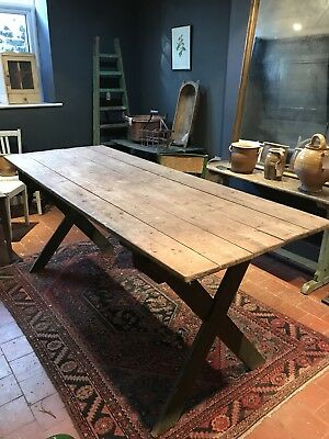 Vintage Antique French Tavern Country Farmhouse Kitchen Dining Table