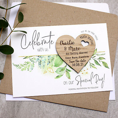 Wooden Save The Date Cards Foliage