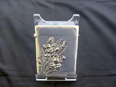 Antique Eastern European Silver Card Case, Embossed With Iris Flowers,Circa 1900