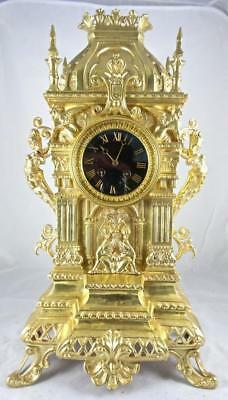Superb XL Antique 1855 Vincenti French Solid Gilt Bronze Mantel / Table clock
