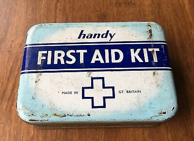 old vintage handy first aid kit tin made in great britain british