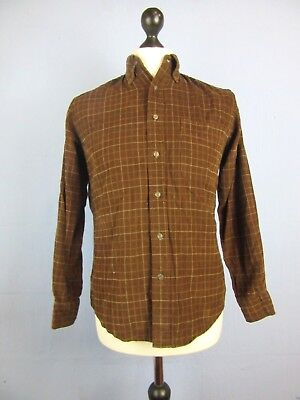 VINTAGE RETRO CHECK CORDED CORDUROY SHIRT long sleeve SMALL st129