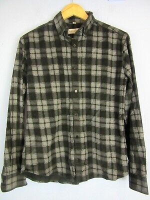 VINTAGE RETRO blue CHECK CORDED CORDUROY SHIRT long sleeve SMALL st140