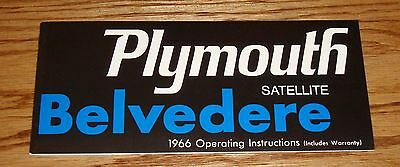 1966 Plymouth Belvedere & Satellite Owners Operators Manual 66