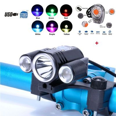 Bicycle Front Light Torches Bike Kit T6 LED Rear Tail Safety Lamp Cycling Set