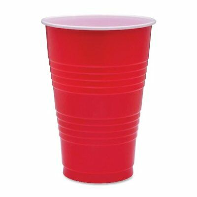Genuine Joe Plastic Party Cup - 16 Oz - 50/pack - Plastic - Red (GJO11251)