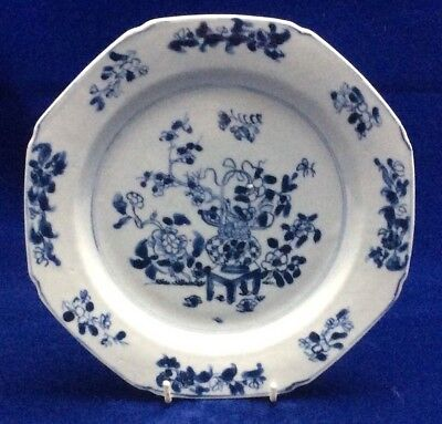 An Attractive Chinese 18Th Century Blue And White Hand Painted Plate Qianlong