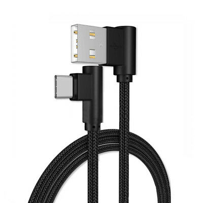 Right Angle 90 Degree Charger Cable Nylon Braided Cord For Samsung iPhone Xiaomi