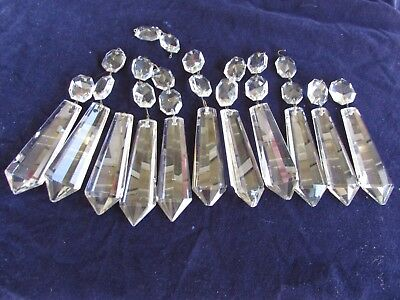 """Lot of 11 Vintage Chandelier Glass Prisms With Connectors 3 1/2"""" Crystals"""