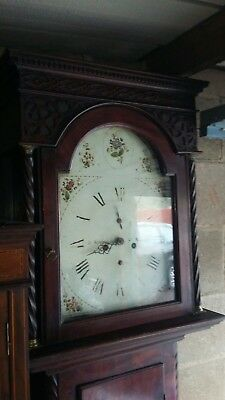 Antique Longcase Clock Painted Dial Mahogany 8 Day Grandfather Clock 1750