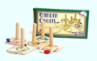 Retro Wooden Garden Quoits Family Pegs And Rope Hoopla Game Traditional Fun Toys