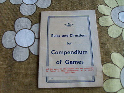 Vintage 'Bell' Rules and Directions for Compendium of Games instruction leaflet