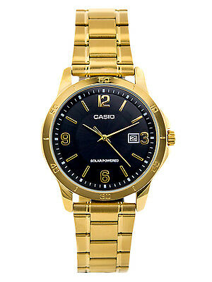 Casio MTP-VS02G-1A Men's Gold Solar Stainless Steel Black Dial Date Watch