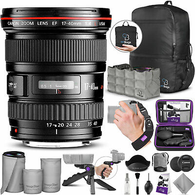 Canon EF 17-40mm F/4L USM Wide Angle Zoom Lens 8806A002 with Accessories Bundle