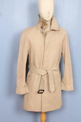SUPERB Mens BURBERRY Single Breasted Short TRENCH Coat Mac ฺBeige Size 36/38