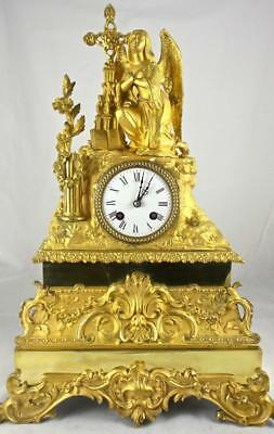 Large antique French gilt ormolu bronze Figural 8 day mantle clock by L.P.Japy