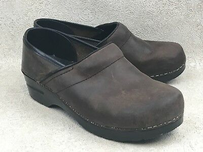 Womens Dansko 40 Us 95 10 Brown Leather Clogs Slip On Shoes Black