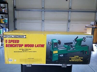 Central Machinery 5 Speed Bench Top Wood Lathe 3200 RPM's Excellent Condition.