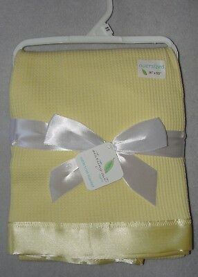 Starting Out Layette Baby Blanket Yellow Thermal Waffle Knit Satin Edge Trim
