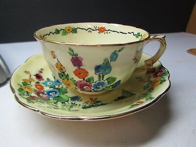 Vintage Crown Staffordshire England Flower Garden W Butterfly Cup And Saucer