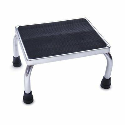 Medline MDS80430I Foot Stool, 16w X 12d X 8 1/4h, Steel, Chrome/black Mat