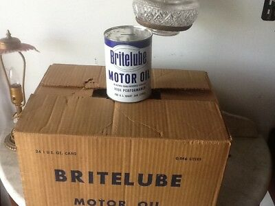 VINTAGE BRITE LUBE MOTOR OIL CAN ADVERTISING DISPLAY OIL CAN BANK cardboard cans