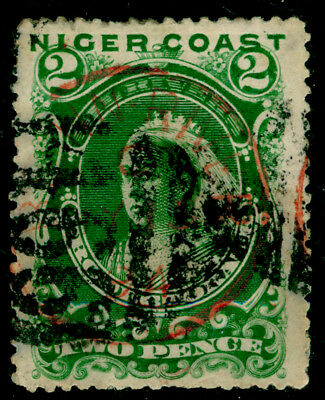 NIGERIA -Niger Coast Protectorate SG47d, 2d green, used. Cat £17.