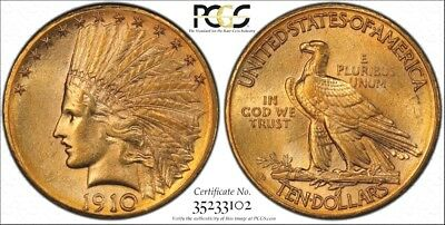 Nice 1910-D GOLD INDIAN $10 American Eagle PCGS MS62 Gold Shield Secure TrueView