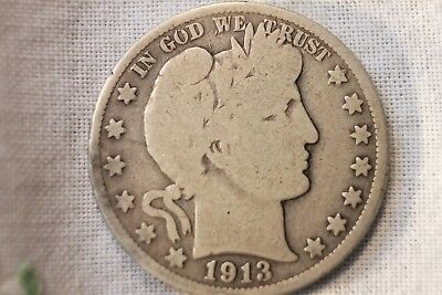 1913 50C Barber Half Dollar GOOD Low Mintage Rare KEY DATE Coin!