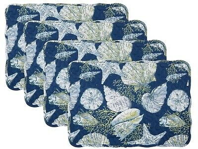"Set of 4 Quilted Placemats Blue Coastal Seashell Nautical /stripe 12.5""Lx17.5""W"