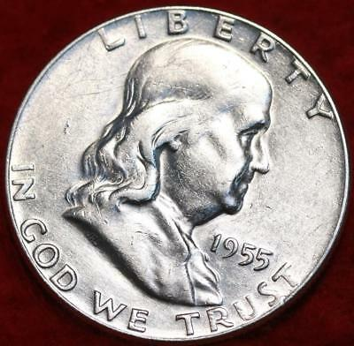 Uncirculated 1955 Philadelphia Mint Silver Franklin Half