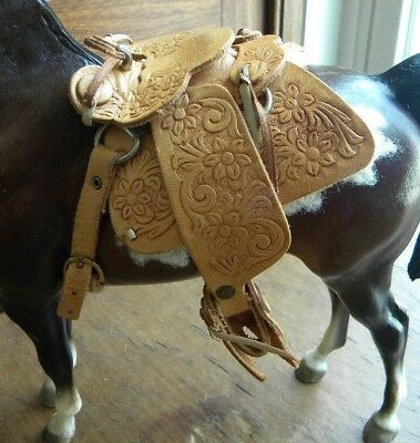 BREYER HORSE Western Saddle TAN Brown Leather Tooled  WITH FUR