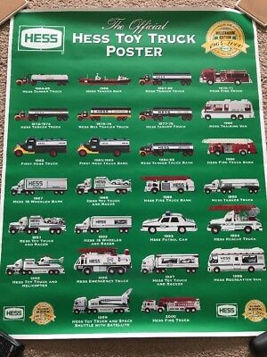 "1964-2000~Millennium Poster~HESS Toy Trucks~30"" H x 24 1/8"" W~Assort. Color Pics"
