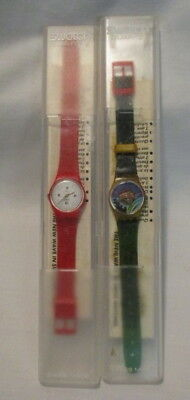 2 Vintage Swatch Watches In Original Cases With Paperwork