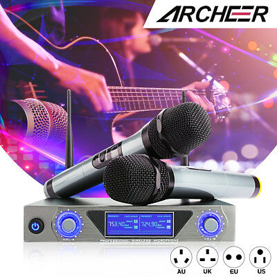 ARCHEER UHF GTD Wireless Handheld Microphone Audio 2 Channel System For Home KTV