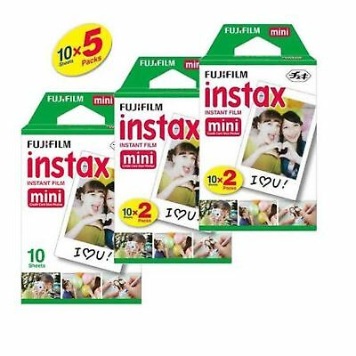 50 SHEETS Fujifilm Instax Instant Film For Mini 8-9 & all Fuji Mini Cameras
