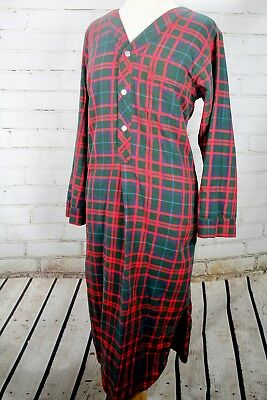 Ll Bean Flannel Nightgown Red Plaid Cotton House Dress Womens Large