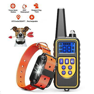 US Dog Shock Training Collar Stop Barking Trainer Control IP67 Electric 875 Yard