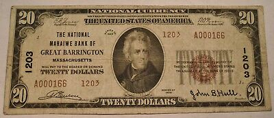 1929 $20 National Currency Great Barrington, MA Ch# 1203 Massachusetts Bank Note