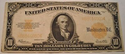1922 $10 Gold Certificate, Middle Grade Note, Bold Color Ten Dollar, Nice Look