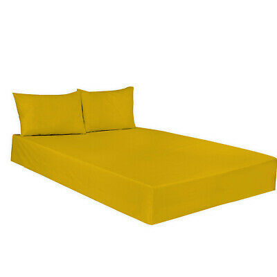 Fitted Sheet Plain Dyed Polycotton Mustard Colour in All Sizes, Non Iron Percale