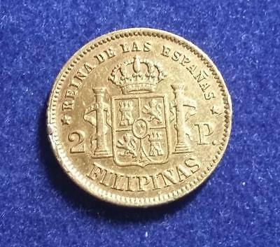 SPANISH PHILIPPINES - 1862 GOLD Isabella II 2 Pesos - ex-jewelry - VF details