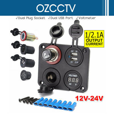 12V Car Dual Cigarette Lighter Plug Socket+Dual USB Port Charger+Voltmeter