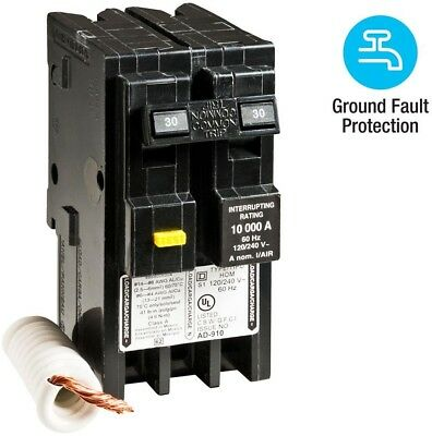 Square D Homeline 30 Amp 2 Pole GFCI Circuit Breaker Thermal MagneticTtripping